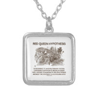 Red Queen Hypothesis (Wonderland Alice Red Queen) Square Pendant Necklace