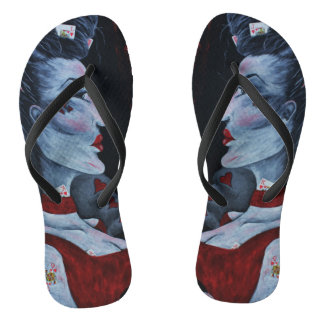 Red Queen Of Hearts Alice Wonderland Fantasy Art Flip Flops