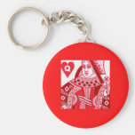 Red Queen of Hearts Basic Round Button Keychain