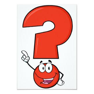 """Red Question Mark Invitations 3.5"""" X 5"""" Invitation Card"""