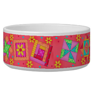 Red Quilt Block Dog Food Bowl
