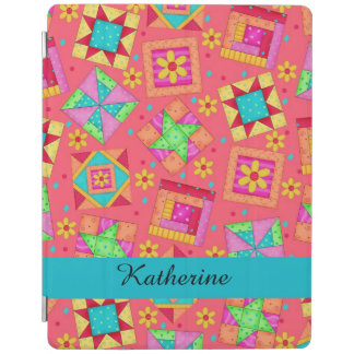 Red Quilt Patchwork Block Name Personalized iPad Cover