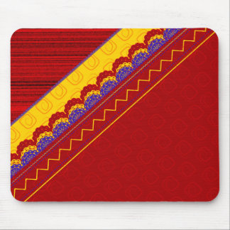 Red Quilted print Mouse Pad