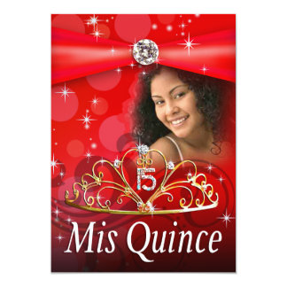 Red Quinceanera 15 Princess Tiara  Photo Card
