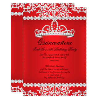 Red Quinceanera 15th Birthday Party Tiara Card