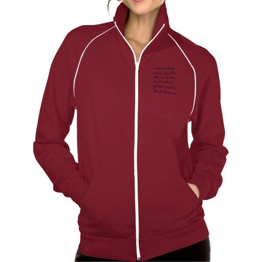 red quote zip up hoodie