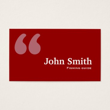Professional Business Red Quotes Fishing Guide Business Card