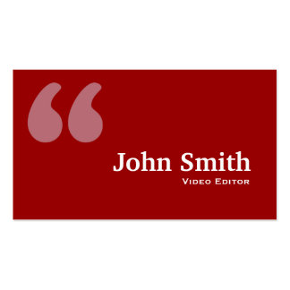 Red Quotes Video Editor Business Card