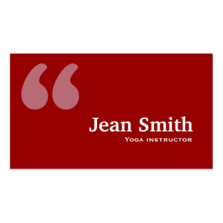 Red Quotes Yoga instructor Business Card