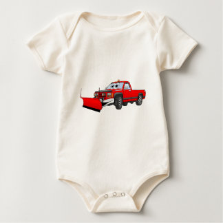 Red R Pick Up Snow Plow Cartoon Baby Bodysuit