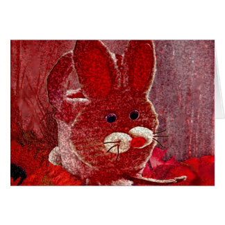 RED RABBIT GREETING CARD