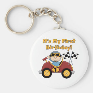 Red Race Car 1st Birthday Tshirts and Gifts Basic Round Button Keychain
