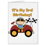Red Race Car 3rd Birthday Tshirts and Gifts Greeting Card