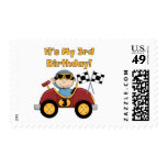 Red Race Car 3rd Birthday Tshirts and Gifts Postage Stamps