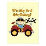 Red Race Car 3rd Birthday Tshirts and Gifts Postcard