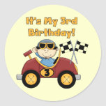 Red Race Car 3rd Birthday Tshirts and Gifts Classic Round Sticker