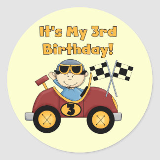 Red Race Car 3rd Birthday Tshirts and Gifts Sticker