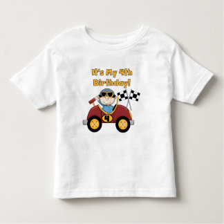 Red Race Car 4th Birthday Tshirts and Gifts