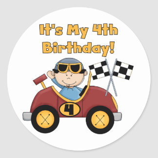 Red Race Car 4th Birthday Tshirts and Gifts Classic Round Sticker