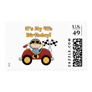 Red Race Car 4th Birthday Tshirts and Gifts Postage