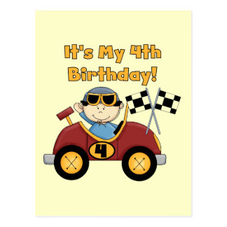 Red Race Car 4th Birthday Tshirts and Gifts Postcard