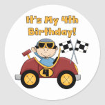 Red Race Car 4th Birthday Tshirts and Gifts Sticker