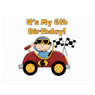Red Race Car 6th Birthday  T-shirts and gifts Postcard