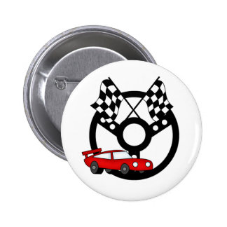 Red Race Car and Flags Button