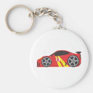 Red Race Car Basic Round Button Keychain