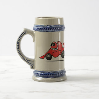 Red race car beer stein