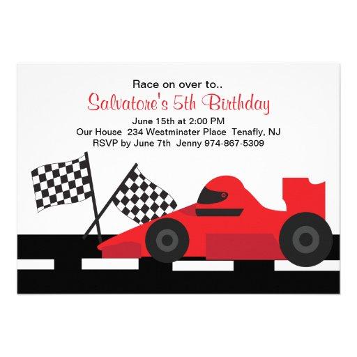 Red Race Car Boys Birthday Invitation