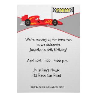 Red Race Car Finish Line Birthday Invitation
