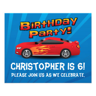 Red Race Car Flames Boys Birthday Party Invitation Flyer