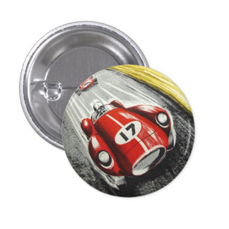 Red Race Car Pinback Button