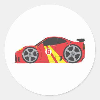 Red Race Car Round Sticker