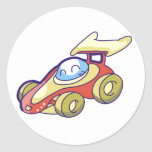 Red Race Car Round Stickers