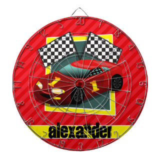 Red Race Car; Scarlet Red Stripes Dartboard With Darts