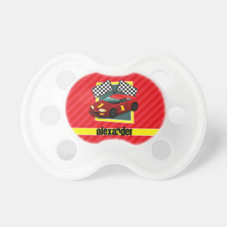 Red Race Car; Scarlet Red Stripes BooginHead Pacifier