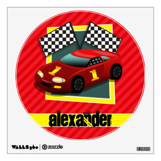 Red Race Car; Scarlet Red Stripes Room Decal