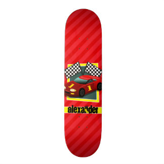 Red Race Car; Scarlet Red Stripes Skateboard