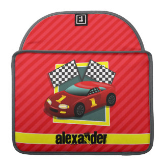 Red Race Car; Scarlet Red Stripes Sleeve For MacBook Pro