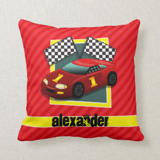 Red Race Car; Scarlet Red Stripes Throw Pillow