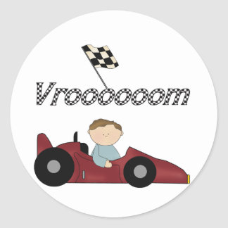 Red Race Car Vroom T-shirts and Gifts Round Stickers