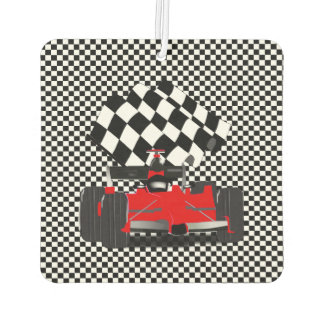 Red Race Car with Checkered Flag Air Freshener