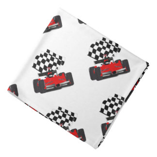 Red Race Car with Checkered Flag Bandana