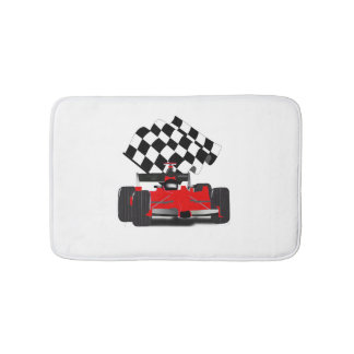 Red Race Car with Checkered Flag Bath Mat