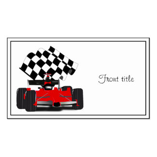 Red Race Car with Checkered Flag Business Card