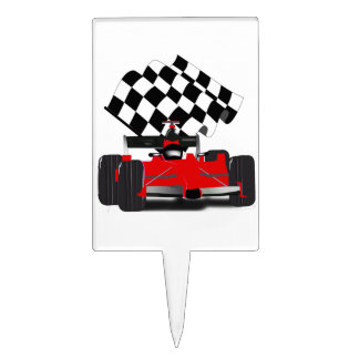 Red Race Car with Checkered Flag Cake Topper