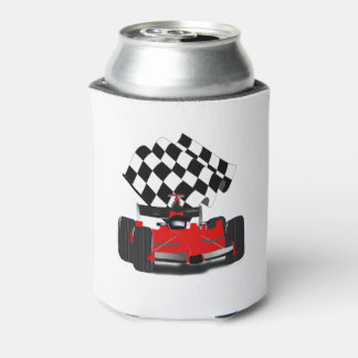 Red Race Car with Checkered Flag Can Cooler