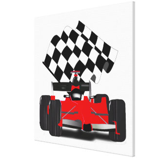 Red Race Car with Checkered Flag Canvas Print